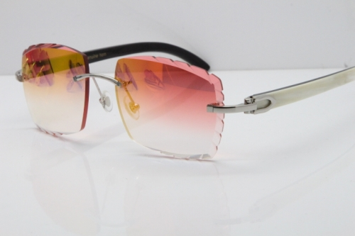 Cartier Rimless 8300816 Original White inside Black Buffalo Horn Sunglasses In Silver Mirror Red Carved Lens