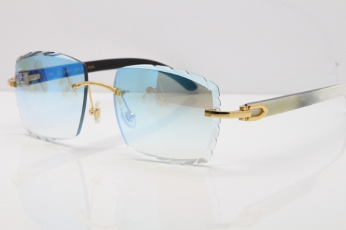 Cartier Rimless 8300816 Original White inside Black Buffalo Horn Sunglasses In Gold Ice Blue Carved Lens
