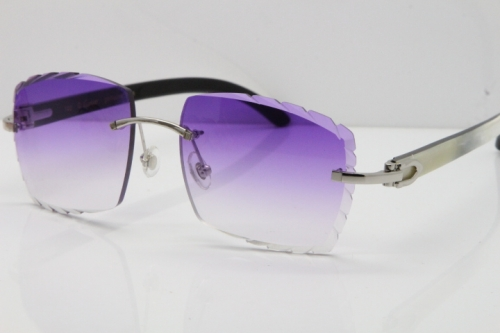 Cartier Rimless 8300816 Original White inside Black Buffalo Horn Sunglasses In Silver Purple Carved Lens