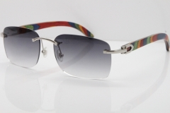 Cartier Rimless 8200759 Original Peacock Wood Sunglasses in Gold Gray Lens