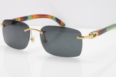 Cartier Rimless 8200759 Original Peacock Wood Sunglasses in Gold Dark Lens