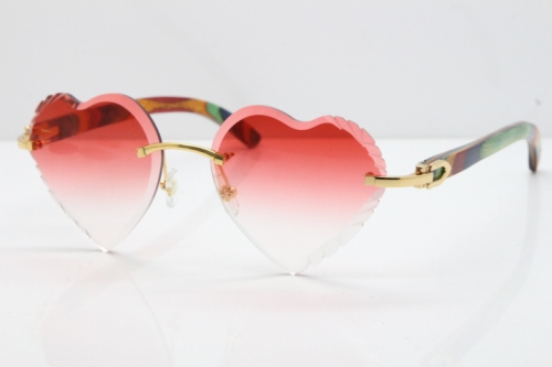 Cartier Rimless 3524012 Heart Original Peacock Wood Sunglasses In Gold Red Lens
