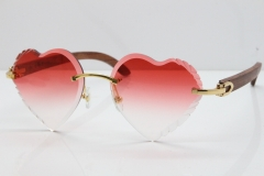 Cartier Rimless 3524012 Heart Original Pear Wood Sunglasses In Gold Red Lens