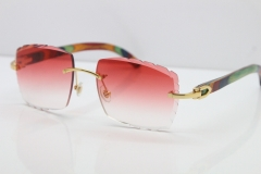 Cartier Rimless 8300816 Peacock Wood Sunglasses In Gold Red Lens
