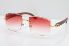 Cartier Rimless 8300816 Pear Wood Sunglasses In Gold Red Lens