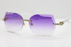 Cartier Rimless T8200762 Big Diamond White Aztec Arms Sunglasses In Gold Purple Lens