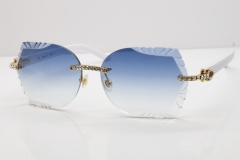 Cartier Rimless T8200762 Big Diamond White Aztec Arms Sunglasses In Gold Blue Lens