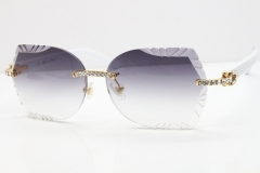Cartier Rimless T8200762 Big Diamond White Aztec Arms Sunglasses In Gold Gray Lens