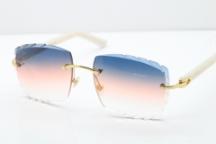 Cartier Rimless 8300816 White Aztec Arms Sunglasses In Gold Purple Mix Orange White Lens
