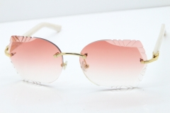 Cartier Rimless T8200762  White Aztec Arms Sunglasses In Gold Pink Lens