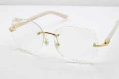 Cartier Rimless T8200762 White Aztec Arms Sunglasses In Gold Clear Lens